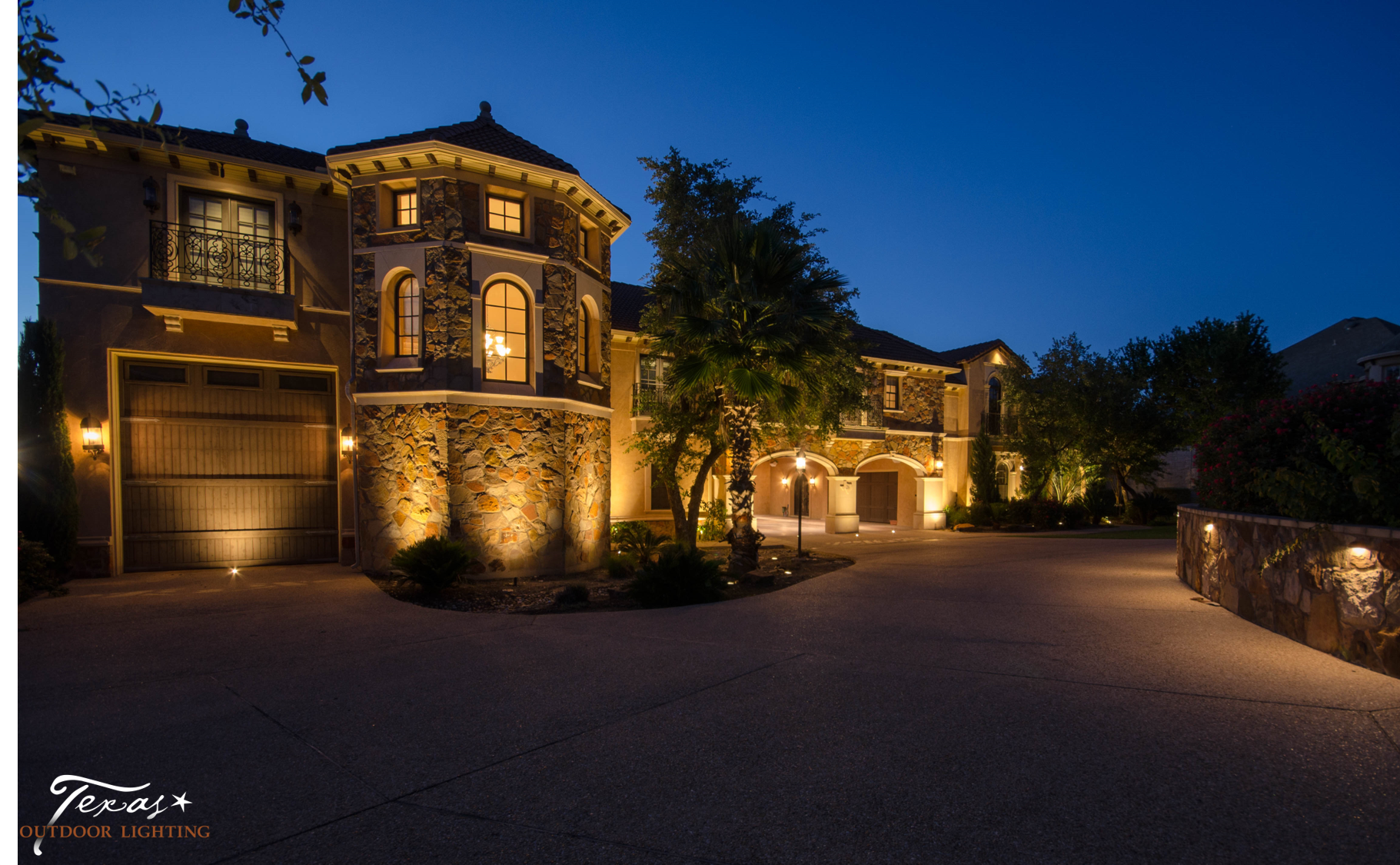 Garage lighting curb appeal and safety texas outdoor lighting while up lighting garage doors is easiest when the landscape lighting company collaborates with the builder workwithnaturefo